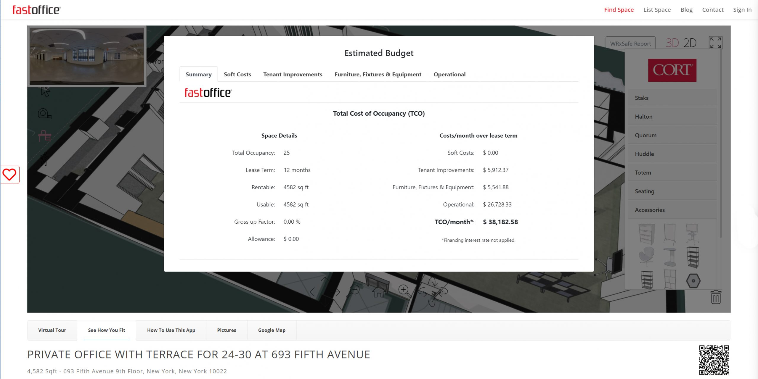 how to rent your space with fastoffice step 3 - see the monthly cost