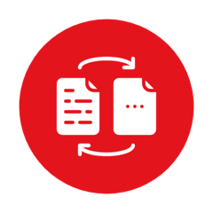 icon illustrating two documents and a frictonless transaction with fastoffice