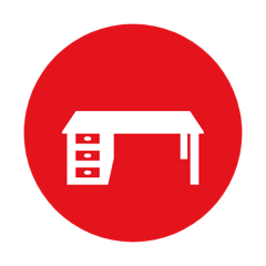 icon of a desk illustrating that fastoffice tools use 3D tools