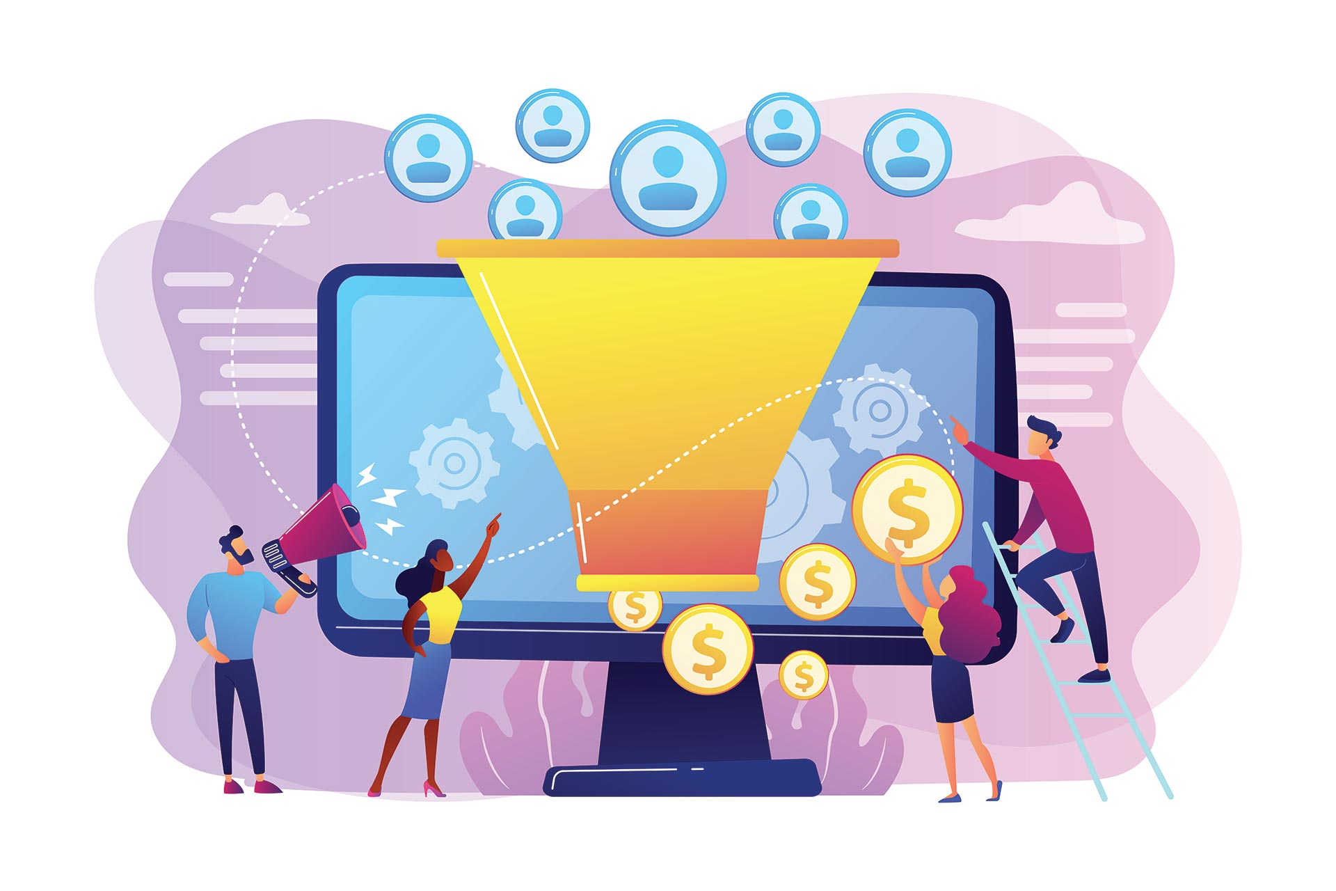 Illustration of people around a computer screen showing a funnel with users coming in the top and money out the bottom